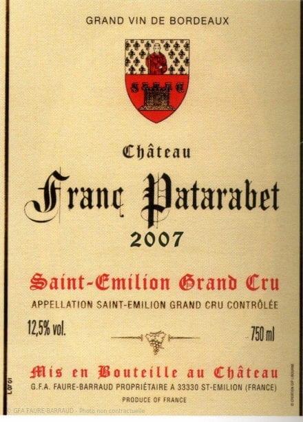 Château Franc Patarabet - Millésime 2007