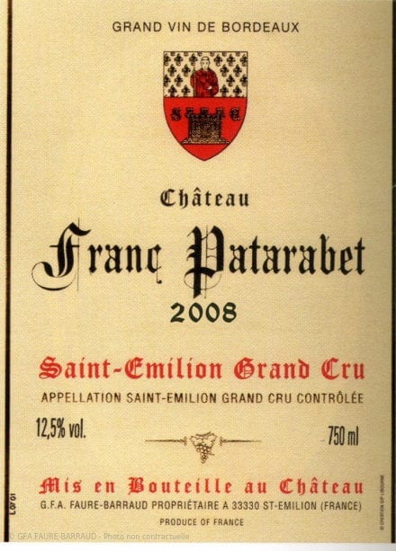 Château Franc Patarabet - Millésime 2008