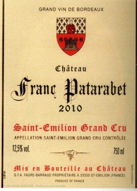 Château Franc Patarabet - Millésime 2010