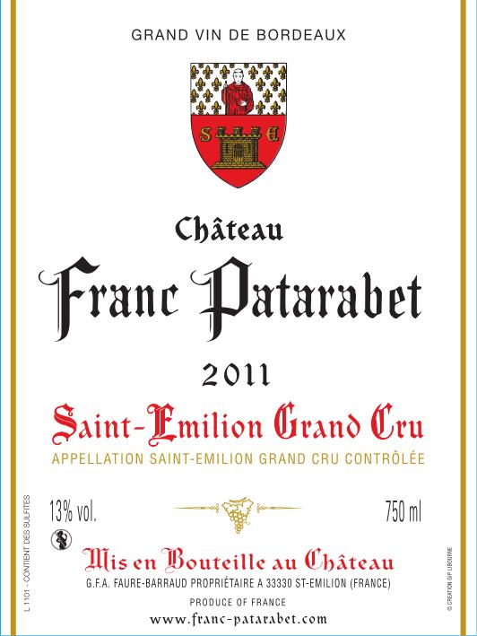 Château Franc Patarabet Saint-Émilion Grand Cru Millésime 2011
