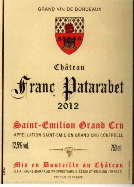 Château Franc Patarabet - Millésime 2012