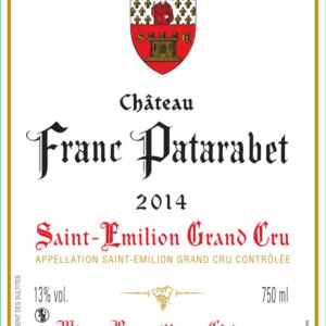 Château Franc Patarabet Saint-Émilion Grand Cru Millésime 2014