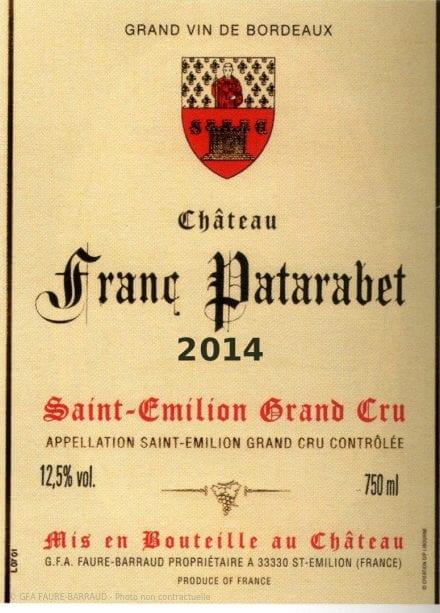 Château Franc Patarabet - Millésime 2014