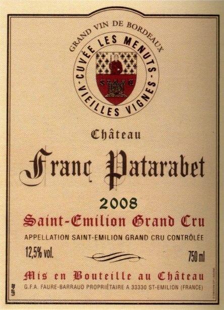 Château Franc Patarabet - Cuvée Vieilles Vignes - Millésime 2008