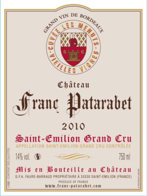 Château Franc Patarabet - Cuvée Vieilles Vignes Saint-Émilion Grand Cru Millésime 2010