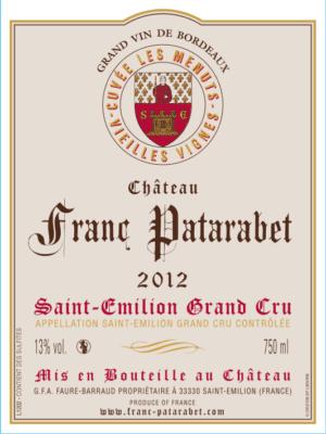 Château Franc Patarabet - Cuvée Vieilles Vignes Saint-Émilion Grand Cru Millésime 2012