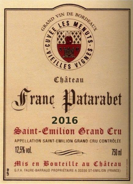 Château Franc Patarabet - Cuvée Vieilles Vignes Saint-Émilion Grand Cru - 2016