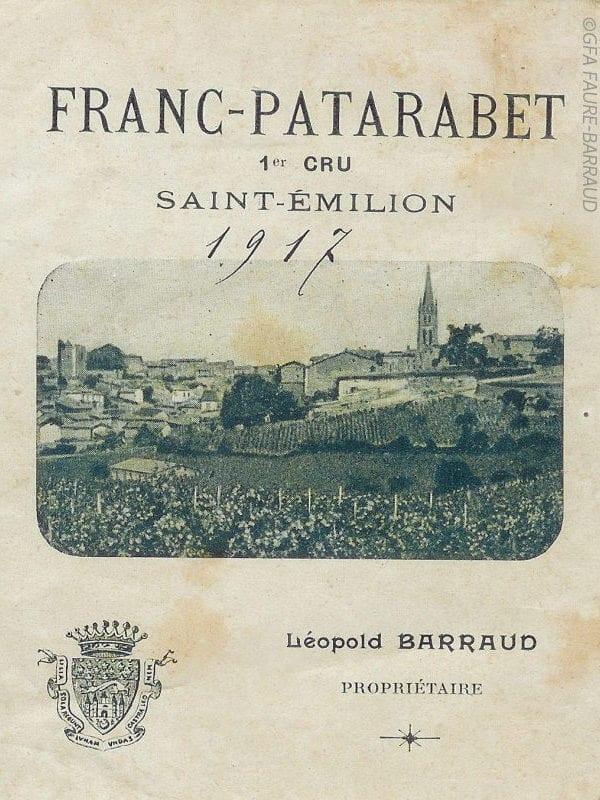 Étiquette du château Franc Patarabet en 1917