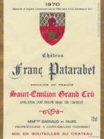 Étiquette du château Franc Patarabet en 1970