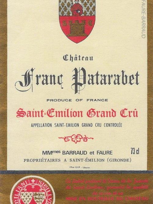 Étiquette du château Franc Patarabet en 1975