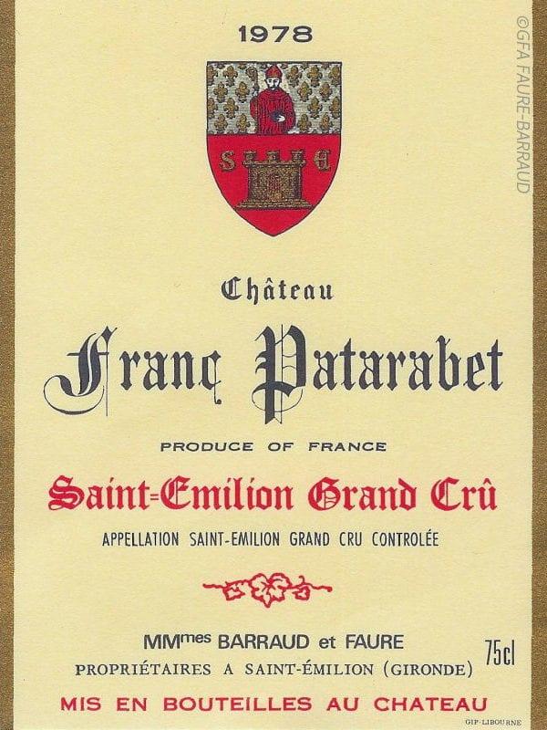 Étiquette du château Franc Patarabet en 1978