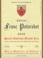 Étiquette du château Franc Patarabet en 2000