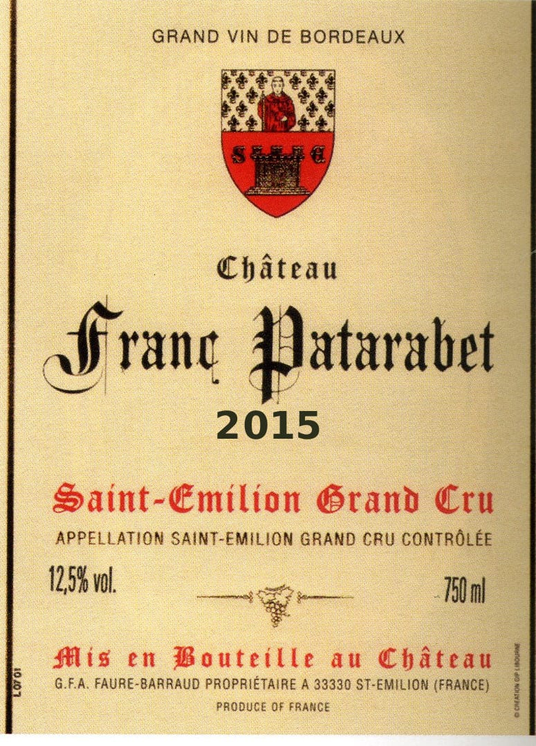 Château Franc Patarabet - Millésime 2015