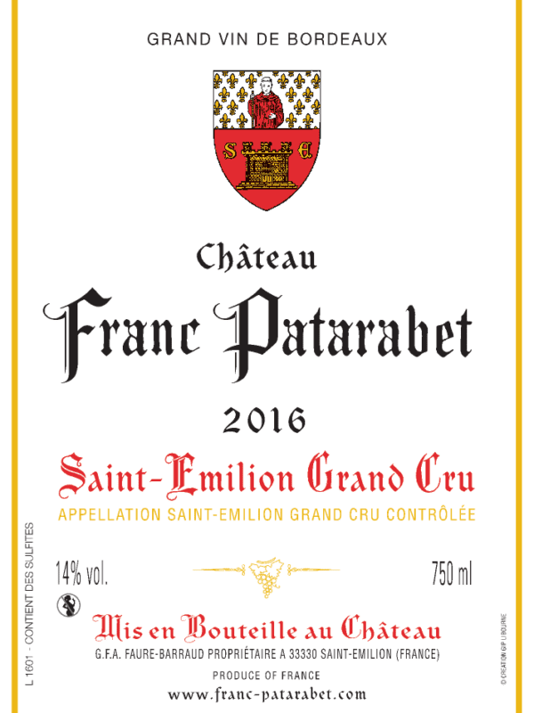 Château Franc Patarabet Saint-Émilion Grand Cru Millésime 2016