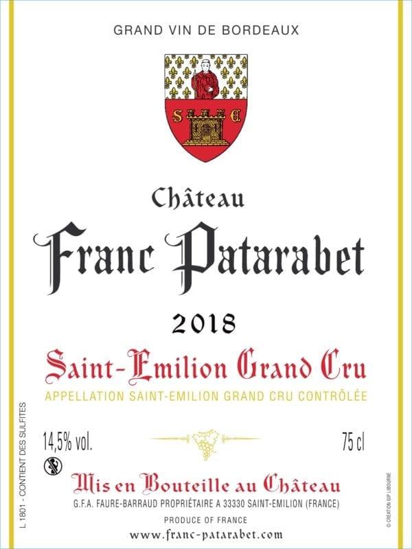 Château Franc Patarabet - Saint-Émilion Grand Cru Millésime 2018