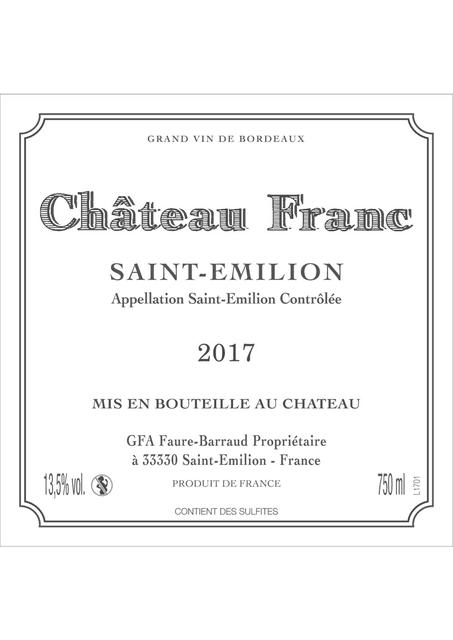 Etiquette Chateau Franc 2017 - Saint-Emilion